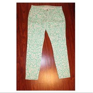 Old Navy Mint & White Scroll Print Skinny Pants